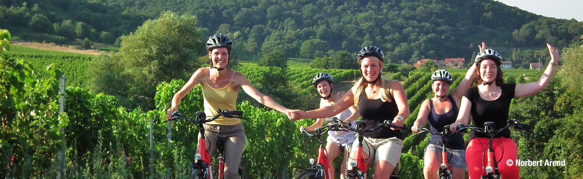 Weinprinzessinen auf unseren E-Bikes